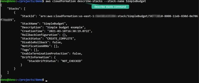 CloufFormation_CLI_describe_stacks