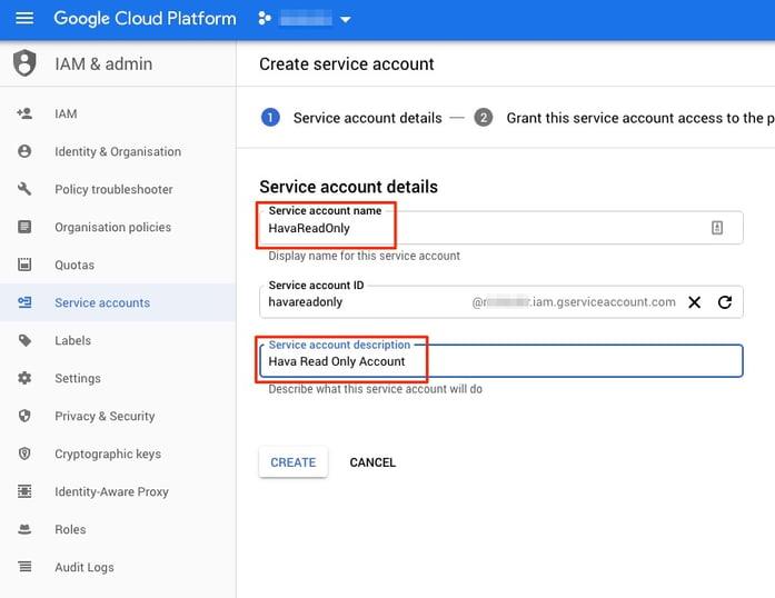 Create GCP Service Account for Hava